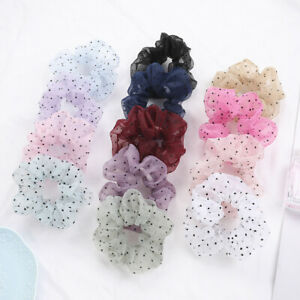 Organza Small Dot Hairband Ponytail Holder Elastic Rubber Band Hair Accessories