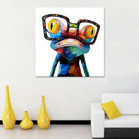 EG_ Modern Abstract Wall Art Oil Painting on Canvas Colorful Frog Home Decor Dul