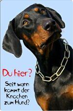 DOBERMANN - A4 Metall Warnschild SCHILD Hundeschild Alu Türschild - DBM 09 T9