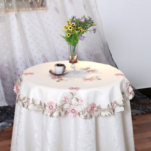 Rose Embroidery Lace Dustproof Tablecloth Hollow Floral Round Square Table Cloth