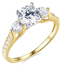 2.25 CT corte redondo 3 Piedra Anillo de compromiso de boda real oro amarillo macizo 14K