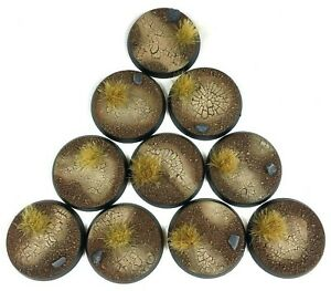 Scorched Earth - Round Resin Bases 32mm-10 Painted/Unpainted Bases for Warhammer