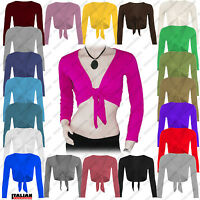 Ladies Tie Up Crop Shrug Womens Wrap Open Bolero Cardigan Top Plus Sizes UK 8-26