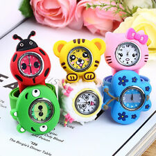 Fashion Animal Slap Snap On Silicone Wrist Watch Boys Girls Children Kids DI