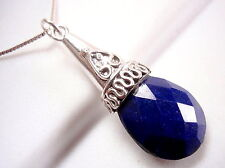 Lapis Faceted Tribal Styled Necklace 925 Sterling Silver Import from India