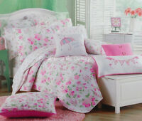LAHAINA PINK ROSE FLOWERS AQUA GREEN FULL QUEEN QUILT SET SHABBY COTTAGE CHIC