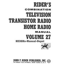 Riders Combination Manual * Volume 27 * Television Transistor Home Radio