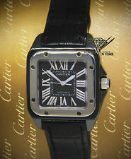 Cartier Santos 100 Steel PVD Black Roman Dial Automatic 33mm Midsize Watch 2878