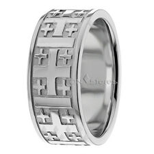 Men's 9mm Cross Wedding Band 10k Solid Yellow Gold Ring Religious Christian Ring