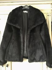 ❤️ladies Black Faux Fur Jacket Size Small (8/10) Wallis