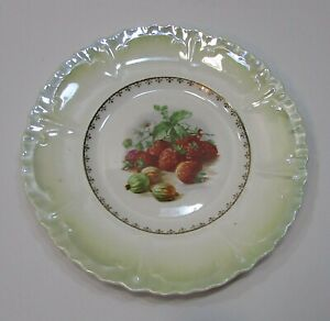 """Red Berries Colorful Antique 1910's Porcelain 8"""" Plate FREE S/H"""