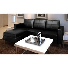 Black Leather Sectional Sofa 3 Seater L Shaped Modern Living Room Furniture