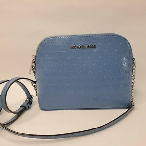 New Michael Kors Crossbody French Blue Leather Large Dome Cindy B2E