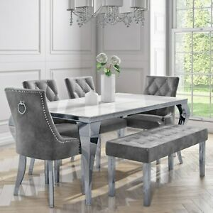 6 Seater Dining Set with White Mirrored Table 4 Grey Velvet Chairs and 1 Bench -