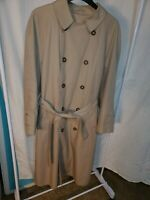 LONDON FOG Towne Long RAINCOAT Rain Trench Coat Mens M Size 42R Khaki w/ liner