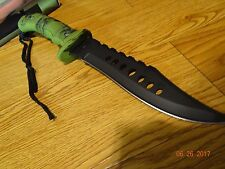 "12"" OVERALL BOWIE KNIFE 440 BLACK COATED STAINLESS A RUBBER HANDLE GREAT GRIP"