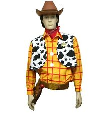 New 11 Pc Toy Story Adult Large XL Woody Costume Shirt Vest Buckle Holster Badge