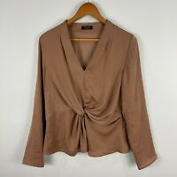 Forcast Womens Blouse Top 14 Brown Long Sleeve V-Neck