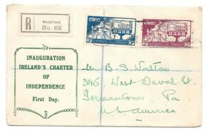 Ireland 1937 Constitution Day FDC registered cover to US
