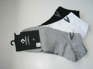 BNWT  CONVERSE  Mens Low Cut Trainer Socks  3 Pairs   Grey White Black  8½ - 11
