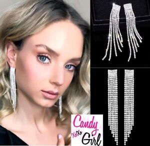 Luxury Silver Crystal Diamante Long Drop Rhinestone Tassel Fashion Earrings