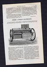 French Farm Machinery: Semoir - Drill - Seeder by Garrett - 1866 Wood Engraving