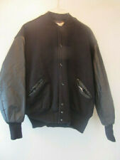 DeLong Varsity Style Winter Jacket Nylon Insulated Men's XL Button Up Black