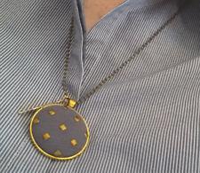 10 Pendant Self Cover BUTTON Kit 38mm Fab Button SHINY SILVER Pendants Ball chn