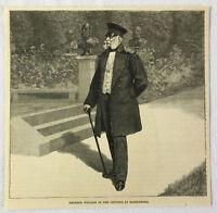 1886 magazine engraving ~ EMPEROR WILLIAM AT GROUNDS, Babelsberg