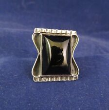 Native American Old Pawn Sterling Ring w Large Onyx Stone Center Sz. 6-1/2 (1060