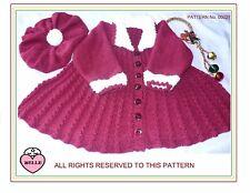 Baby Coat + hat knitting pattern. DK. Christmas, winter warm. Girl. pleats fur.