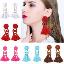 New Women Bohemia Rhinestone Long Tassel Dangle Earrings Fringe Jewelry Earrings