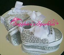 Baby Christening Booties Crystal Bling White Converse Crib 0-3 3-6 6-9 9-12