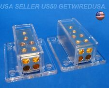 PAIR OF, 1 IN 4 OUT POWER GROUND DISTRIBUTION BLOCKS 4 GAUGE 8 AWG CAR AUDIO