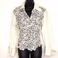 Samuel Dong womens white blouse M pleated  black stitching LS flip cuff fitted
