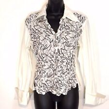Samuel Dong blouse M white pleated black stitching LS flip cuff fitted
