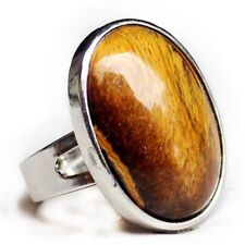 Great Handmade Natural Smooth Oval Tiger's Eye Gemstone Silver Adjustable Rings