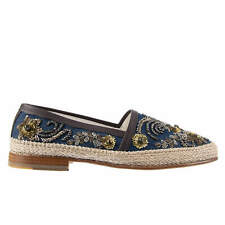 DOLCE & GABBANA Crystals Denim Embroidery Espadrilles Shoes PIANOSA Blue 08690