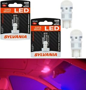 Sylvania ZEVO LED Light 194 Red Two Bulbs Interior Dome Replacement Upgrade OE