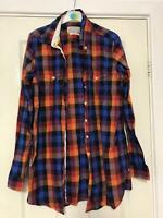Jack Wills Orange Long Shirt Size 14 Womens Cotton Buttons Long Sleeve (K56)