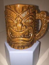 Vtg Efcco Tiki God Mug Tapas Relief Glazed Ceramic Wood Look Mcm Sf Japan Euc!