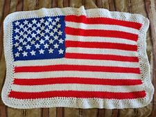 "Handmade Crocheted American Flag throw / lap blanket 28"" x 39"" VG condition"