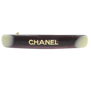 CHANEL CC Logos Mini Hair Clip Hairpin Barrette Brown Plastic 01A 00713