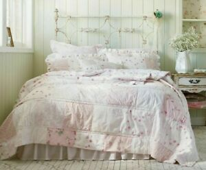 Rachel Ashwell Simply Shabby Chic Ditsy Pink Rose Patchwork Quilt Sham Set TWIN