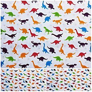 CRAFTYUNIONS  Polycotton Fabric DINOSAUR mini DINO Craft Metre Material