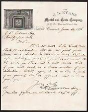 1876 Cincinnati - Fireplace  - Mantel & Grate Co - C B Evans Letter Head Rare