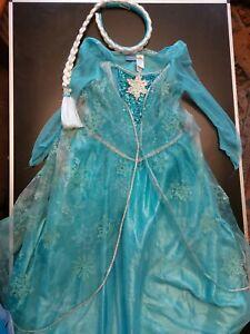 Disney Princess fancy dress up costume Frozen Elsa Anna dress & plait 5-6yrs