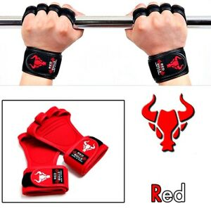 REDBULLS Fitness 4 Holes Weight Lifting  Gloves Gym Sport Workout Strap , 1 Pair