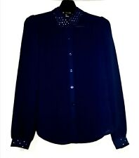 Forever21 Navy Blue Longsleeve With Embellished Cuffs And Collar