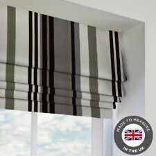 Grey Mono Striped Patterned Roman Blind - Blackout - Made To Measure In The UK